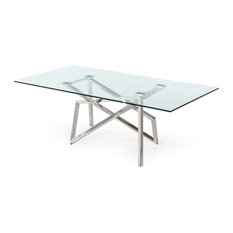 Modrest Hawkins Modern Glass and Stainless Steel Dining Table
