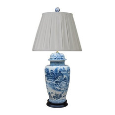 Chinese Blue and White Blue Willow Porcelain Temple Jar Table Lamp, 31.5""