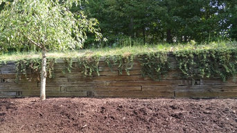 Retaining wall remodel with slope regrade and mulch install