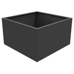 Adezz Aluminium Planter, Black Grey, Florida Low Cube, 80x80x60cm