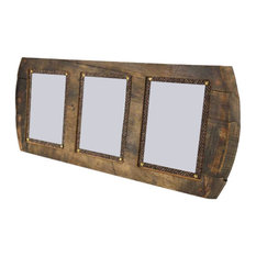 Barrel Head Picture Frame, Triple Photo, 23x54 cm