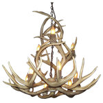 "CDN Antler Designs - Mule Deer Yellowstone Chandelier, Brown Antler, Parchment Shades - Real Antler Mule Deer Yellowstone Chandelier (35-36""D x 32-34""H) 9 light sockets, 6 feet of chain, 9 Parchment Shades.Handmade in North America using top quality naturally shed real antlers."