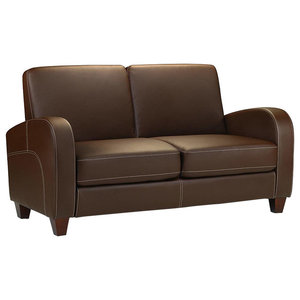 Armchair Upholstered, Chestnut Brown Faux Leather, Contemporary Design, 147 cm