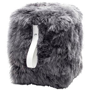 Square Sheepskin Pouffe, Grey With White Strap