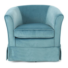 GDF Studio Hamilton Natural Fabric Swivel Chair With Loose Cover Sky Blue