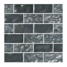 "12""x12"" Glass Tile Blends Titanium Series, Silver"