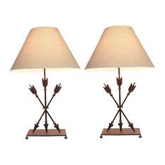 Cast Iron Southwest Triple Arrows Table Lamp Set of 2