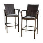 GDF Studio Stewart Outdoor Brown Wicker Bar Stool, Set of 2