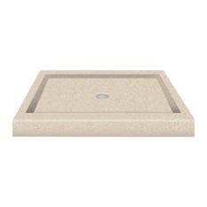 "36""x36"" Decor Solid Surface Shower Base, Sand Castle"