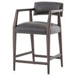 Zin Home - Tyler Mid-Century Modern Black Leather Counter Stool - Top-grain leather and artful blends meet exposed wood frames with alluring angles, curves and turns. Architectural lines, exaggerated details and unexpected touches draw the eye with our Tyler Mid-Century Modern Black Leather Counter Stool. Counter seating is styled with an angular, dark and smoky oak frame, a deep seat, and a striking, low-slung back. Covered in black, top-grain leather.