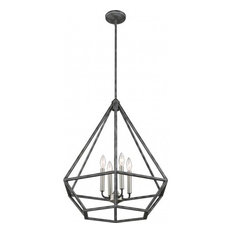 Orin 4 Light Pendant Fixture, Iron Black With Brushed Nickel Accents Finish