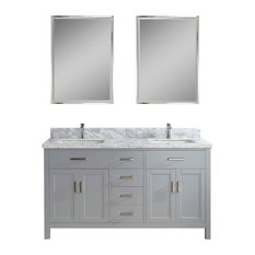 "Kalize II 63"" Vanity Set, Oxford Gray, Top: Carrera White Marble"