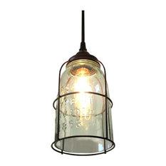 1 gallon mason jar pendant lighting houzz out of the woodwork designs rust cage half gallon mason jar pendant light pendant mozeypictures Images