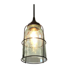 Out Of The Woodwork Designs   Rust Cage Half Gallon Mason Jar Pendant Light    Pendant