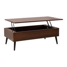 GDF Studio Caleb Brown Wood Lift Top Storage Coffee Table, Mahogany