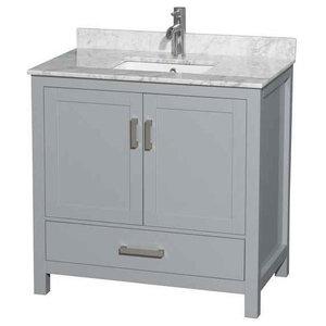 36 in. Single Bathroom Vanity with Carrera Marble Countertop