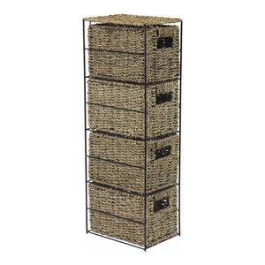 Traditional Storage Tower in Seagrass Wicker with Black Metal Frame, 4 Drawers
