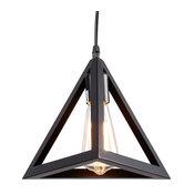 1 Light Black Cone Pendant Light With Metal Shade, Matte-Black
