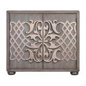 Accentrics Home Metallic Overlay Gray Bar Cabinet