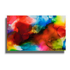 "Multicolored Abstract Metal Painting, ""In The Air"" by Jon Allen, 30""x18"""