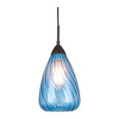 Woodbridge Lighting Inc. - Soak 1-Light Mini Pendant, Blue - Pendant  Lighting