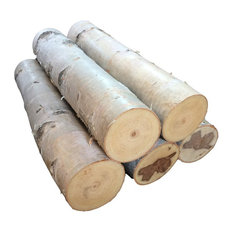 Northern Boughs - Large White Birch Fireplace Logs, Set of 5 - Fire Pit Accessories