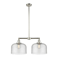 Large Bell 2-Light LED Chandelier, Polished Nickel, Glass: Seedy