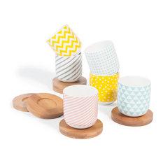 Maisons du monde - Set 6 tazze da caffè con piattini in porcellana COPENHAGEN - Tazze