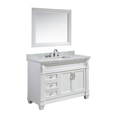 "Hudson 48"" Single Sink Vanity Set, White With White Carrara Marble Countertop"