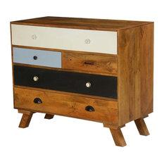 60?s Mod Mango Wood 5 Drawer Standard Horizontal Dresser
