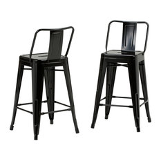 Rayne Metal Bar Stools, Black, Set of 2