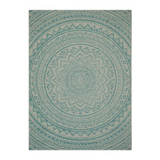 Kalene Light Grey and Aqua All-Weather Rug, 200x290 cm