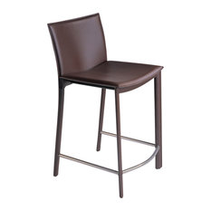 Moe's Home Panca 26-inch Counter Stools Dark Brown Leather Set Of 2