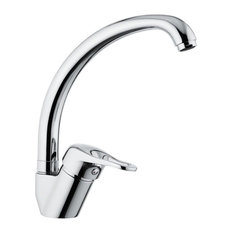 Chrome One-Hole Sink Faucet With High Movable Spout