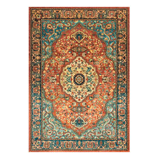 Traditional Floral Medallion Area Rug, Rust, 8'x10'
