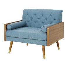 GDF Studio Greta Mid Century Modern Fabric Club Chair, Blue/Dark Walnut