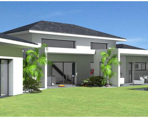 maison contemporaine toit ardoises et grande terrasse couverte. Black Bedroom Furniture Sets. Home Design Ideas