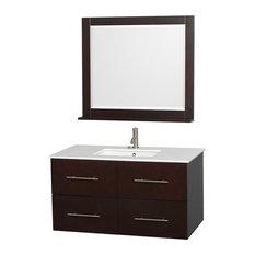 """42"""" Single Bathroom Vanity in Espresso, Countertop, Undermount Sink, Mirror"""
