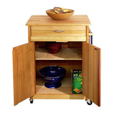 Catskill Craftsmen   Catskill Craftsmen Butcher Block Cart With Flat Doors    Kitchen Islands And Kitchen