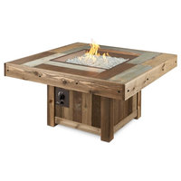 """Vintage Fire Pit Table With Electronic Ignition, NG, Square, 48.25""""x48.25"""""""
