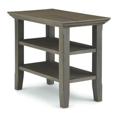Acadian Solid Wood 14-inch Rectangle Rustic Narrow Side Table Farmhouse Grey