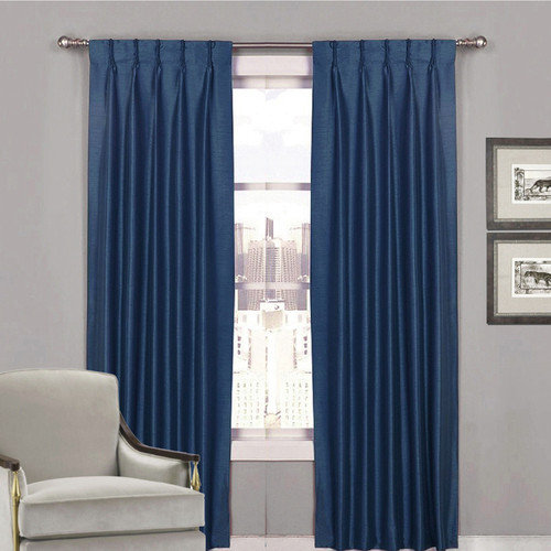 villa blockout pinch pleat curtains textured shantung avail 4 sizes navy blue curtains