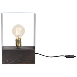 London Wood and Iron Table Lamp, Dark Brown