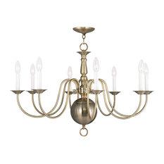 Williamsburg chandeliers houzz livex lighting inc livex lighting williamsburg chandelier in antique brass chandeliers aloadofball Image collections