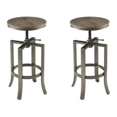 Coaster Home Furnishings - 10181 Industrial Bar With Swivel Adjustable Height Mechanism, Set of 2 - Bar Stools and Counter Stools