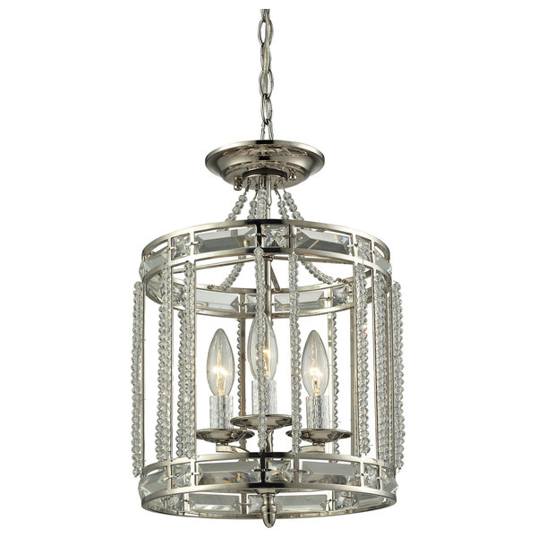 Aubree 3-Light Pendant, Polished Nickel