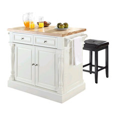 Butcher Block Top Kitchen Island White 24-inch Black Upholstered Square Stools