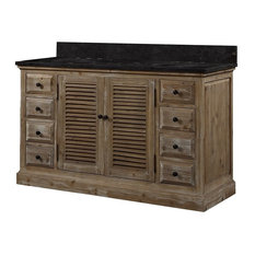 "Infurniture 60"" Solid Wood Sink Vanity With Dark Limestone Top, No Faucet"