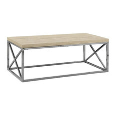 Contemporary Cocktail Coffee Table Sturdy Chrome Metal Criss-Cross Base Natural