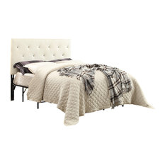 Contemporary Crystal Diamond Tufted Headboard White Queen